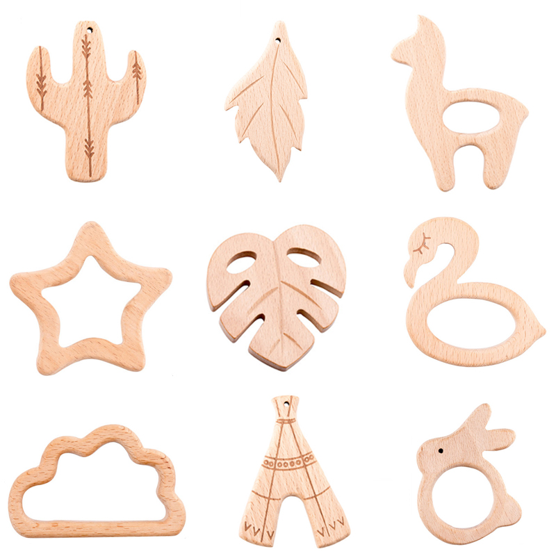 5pc Wooden Teether Pure Cactus Blank Leaves Baby Teething Nursing Beech Rodent Teether Baby Girl DIY For Pacifier Chain Kid Toys