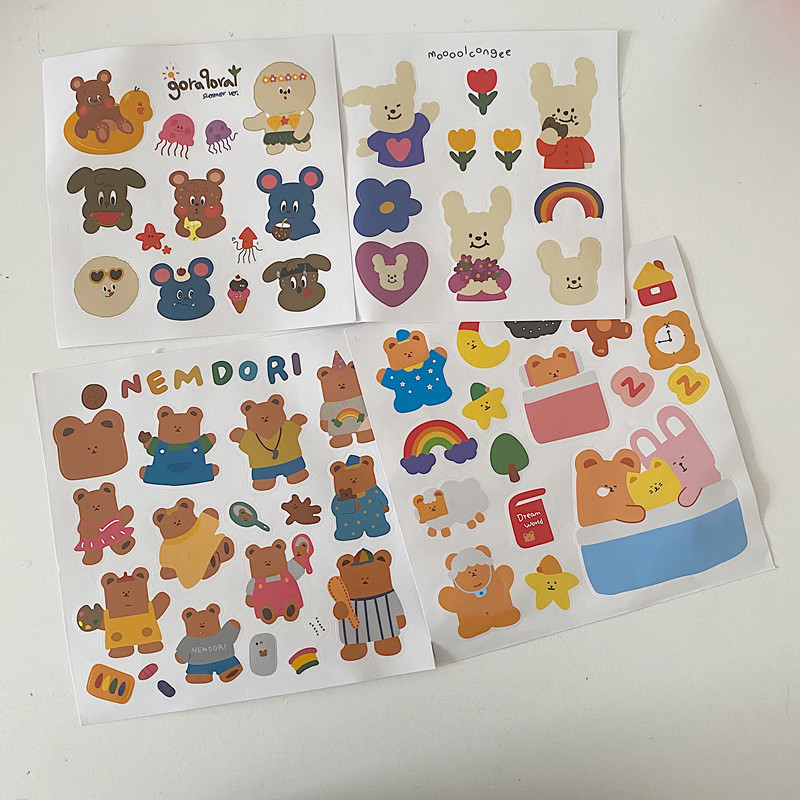 Cute Cartoon Bunny Bear Decorative Sticker Girl Hand Account Laptop Suitcase Diy Labels Sealing Stationery Stickers Scrapbooking