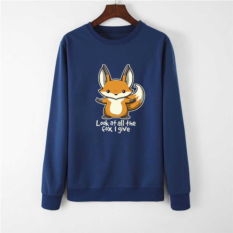 Lovely Fox Print Women Hoodie Long Sleeve Pullover Women's Sweatshirt Autumn Hoodies Women O-NECK Clothes Casual Tops