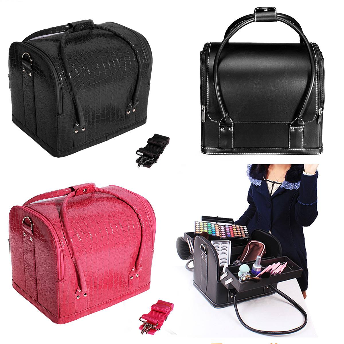 PU Leather Suitcase Cosmetic Bag Case Large Capacity Portable Cosmetics Organizer Manicure Cosmetology Suitcases