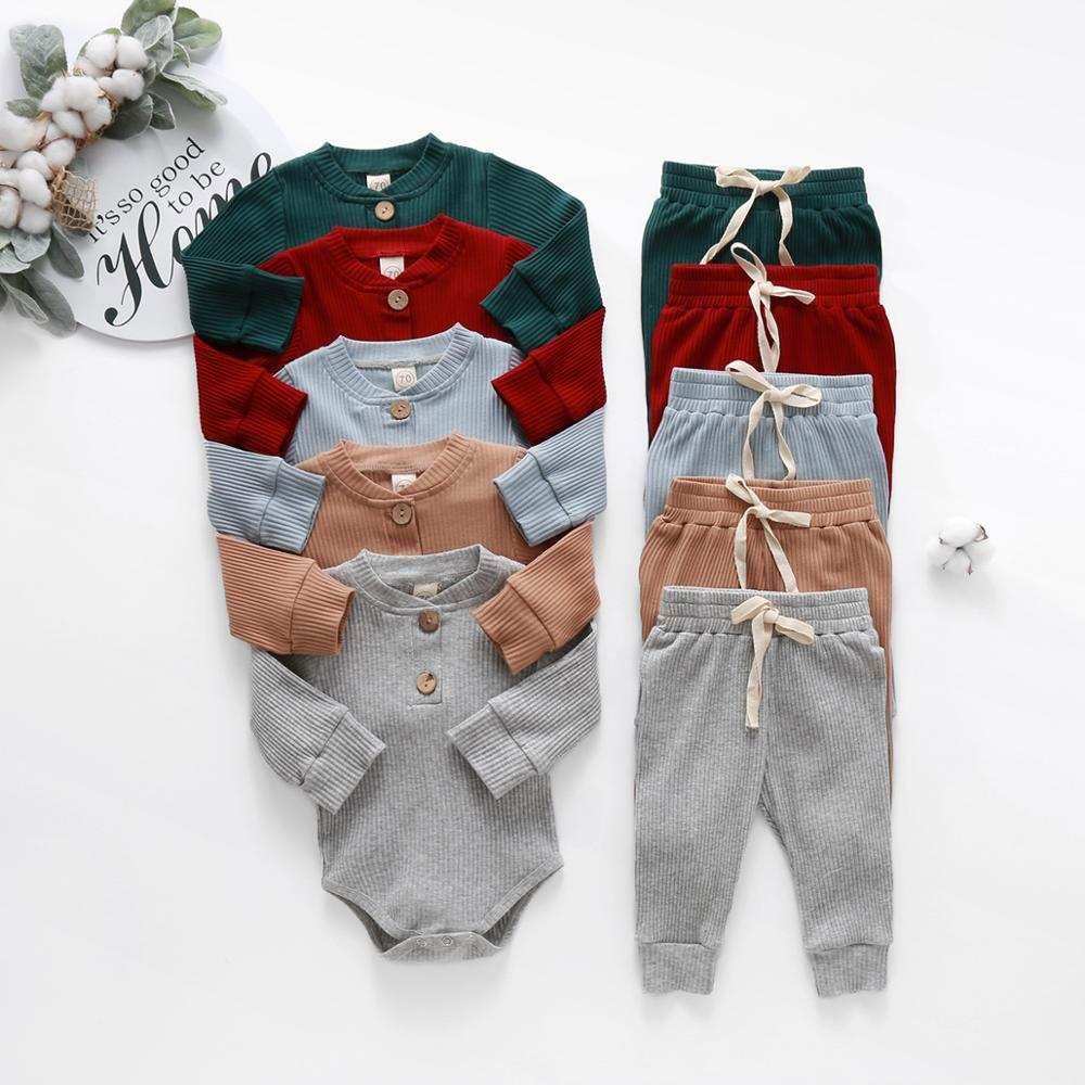 Bodysuits Outfit Clothes-Sets Elastic-Pants Ribbed Long-Sleeve Infant Newborn Baby-Girls
