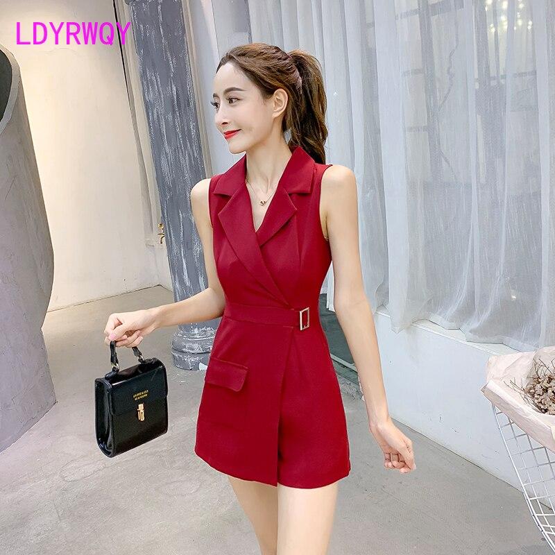 2020 Summer New Korean Version High Waist Was Thin Professional Sleeveless Jumpsuit Office Lady