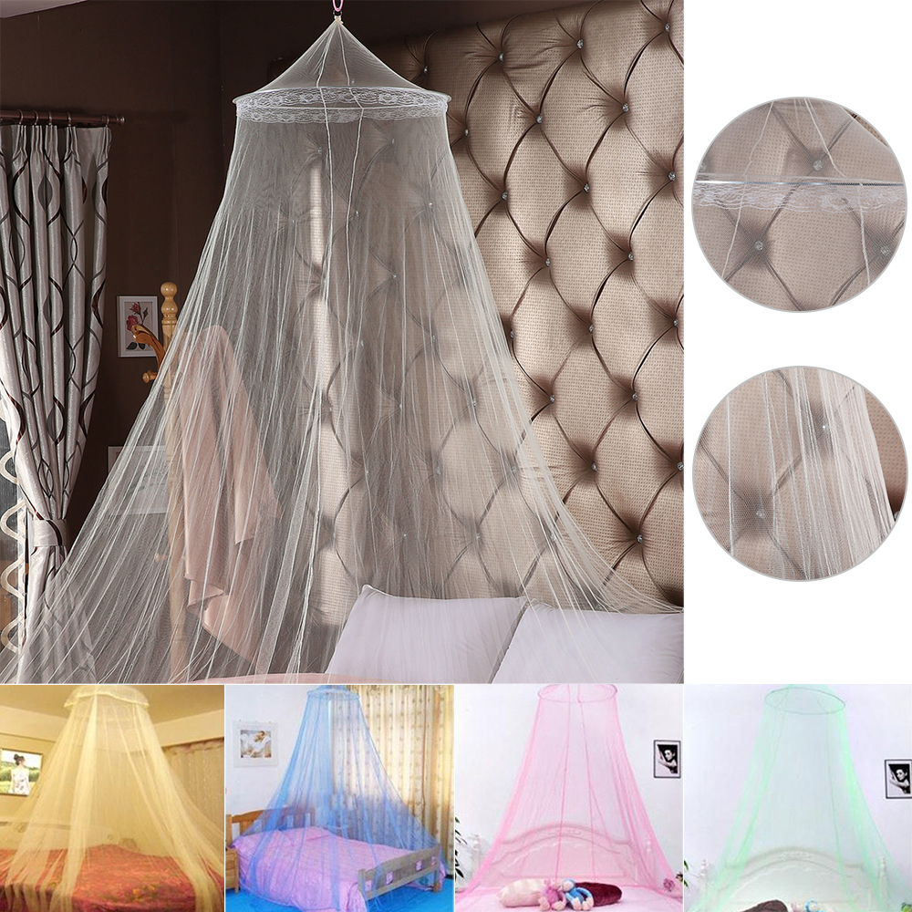 Summer princess ceiling Mosquito net Hanging Round Lace Canopy Bed Netting Comfy hung Dome Mosquito Net Crib 60x250x820cm