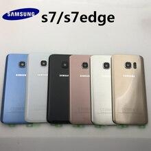 Original สำหรับ SAMSUNG Galaxy S7 G930 S7 EDGE G935 ฝาหลังแบตเตอรี่ด้านหลังเปลี่ยน + กาวสติกเกอร์
