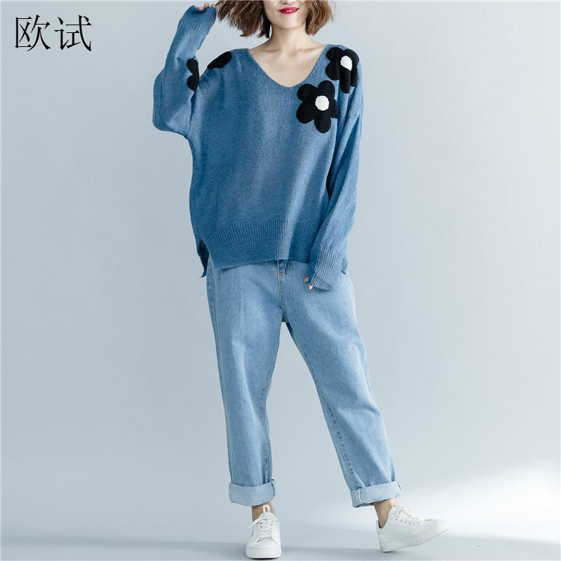 Plus Size 2019 Autumn Korea Style Knitted Sweater Women Oversized Loose Knitwear 3D Flower Sweaters Pullover Winter Jumper Tops