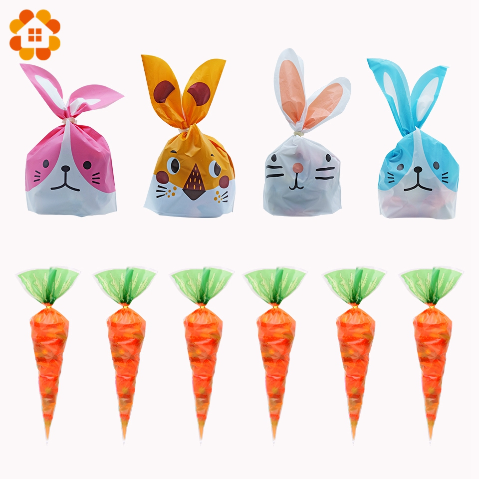 20Pcs Easter Party Decorations Carrot Candy Bag Rabbit Gift Bag Cone Transparent Plastic Bag Kids Birthday Party Decoration