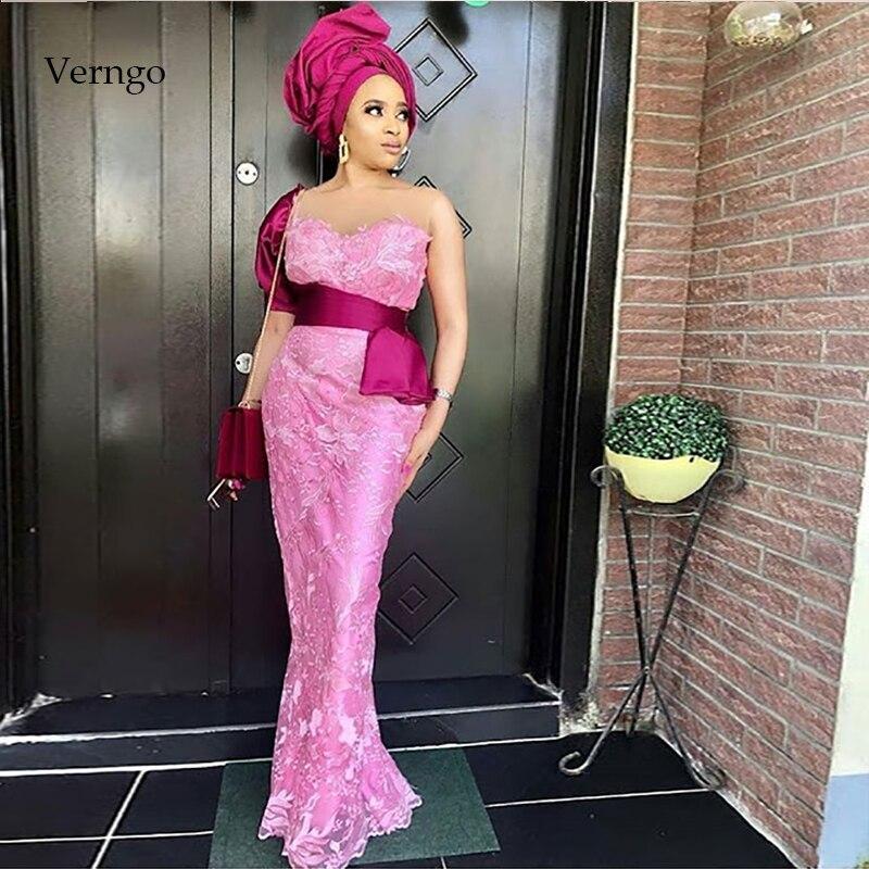 Verngo Mermaid Evening Dresses Long Pink Lace Appliques Formal Dress Prom Party Evening Dress Robe Soiree Dubai Vestido
