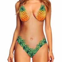 Abacaxis feminino maiô de uma peça malha monokini halter impressão praia verão maiô beachwear fruta bonito banho quente