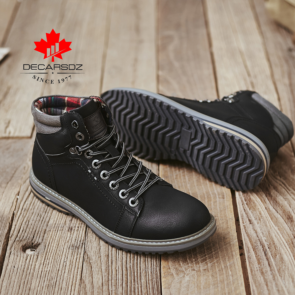 DECARSDZ Men Boots Lace-up Leather Shoes Popular Comfy Autumn Men Shoes Men Casual Boots Fashion Men's Boots Hiking Botas Hombre 2