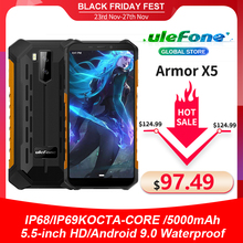 Смартфон Ulefone Armor X5 защищенный, IP68, MT6762, 8 ядер, Android 10,0, 3 + 32 ГБ, NFC, 4G, LTE