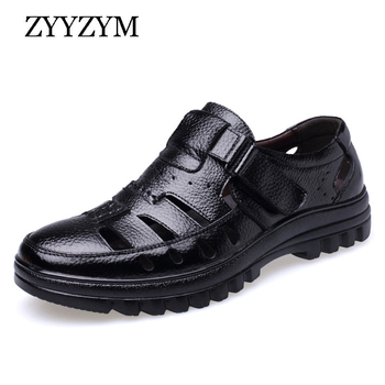 ZYYZYM Men Sandals Genuine Leather New 2020 Summer Shoes High Quality Mens Ventilation Casual Male Brand Non-slip