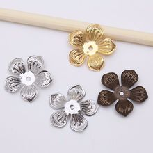 50pcs/lot Gold/Rhodium/Bronze Flower Filigree Bead Caps End Caps Flower Bead Base Plated For DIY Jewelry Making Accessories