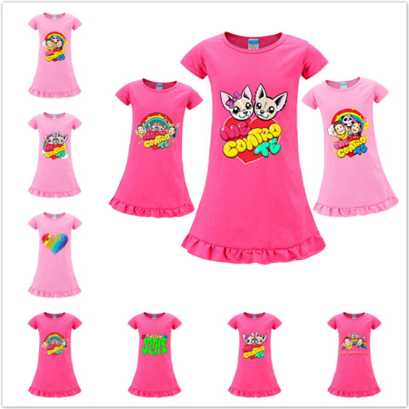Summer Baby Girls Dresses New Kids Short Sleeve Vestidos Princess Dress Cartoon Me Contro Te Print Children Casual Clothes 4-8T