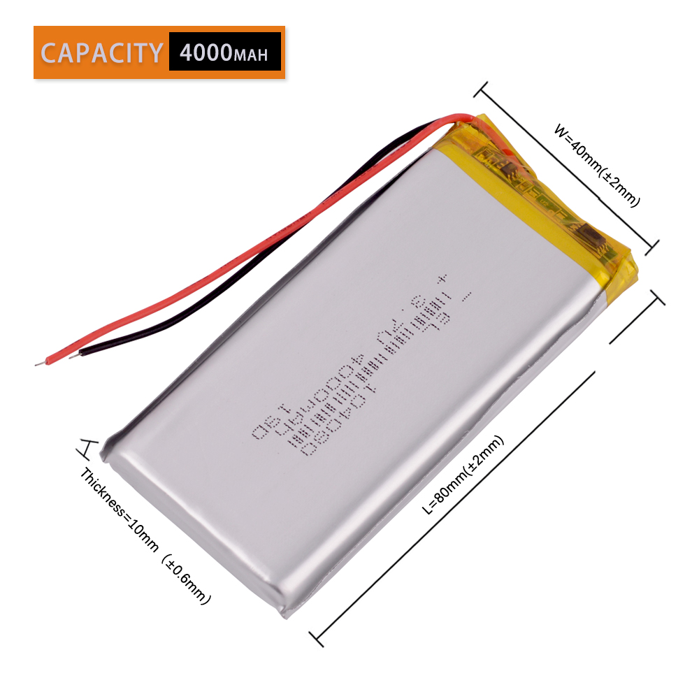 <font><b>3.7V</b></font> <font><b>4000mAh</b></font> 104080 Polymer Lithium LiPo Rechargeable <font><b>Battery</b></font> cells Took for colorfly c10 E-Books Power bank Tablet PC DVD on image