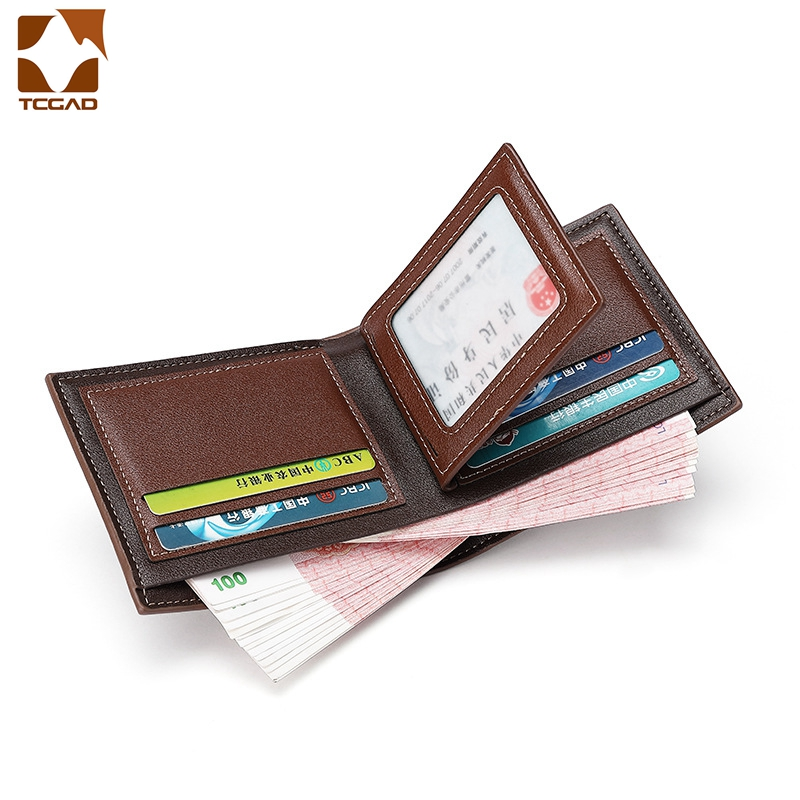 Купить с кэшбэком short men's wallet Patchwork small PU Three fold man portafoglio uomo mens wallet leather genuine portemonnee carteira masculina