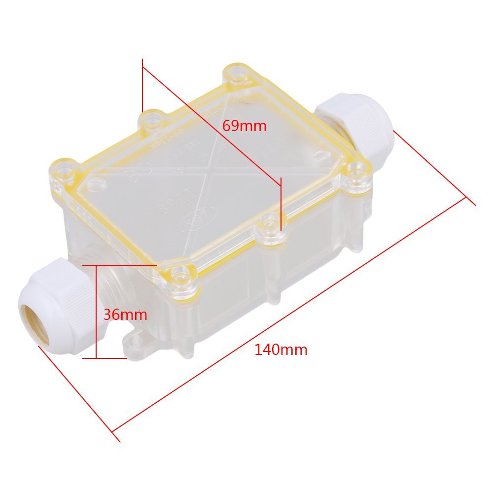 Transparent 2 Way Outdoor Cable Wire Connectors Junction Box IP68 Waterproof Sunproof With Terminal