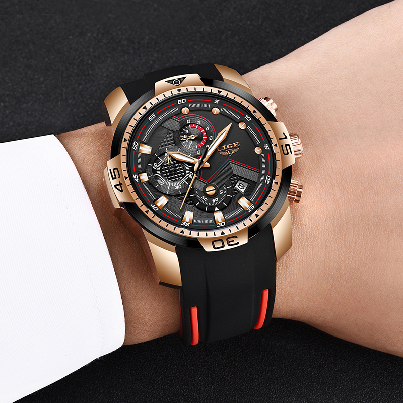 2020 LIGE Sport Watch Men Top Brand Luxury Chronograph Silicone Strap Quartz Mens Watches Waterproof Clock Relogio Masculino+Box 4