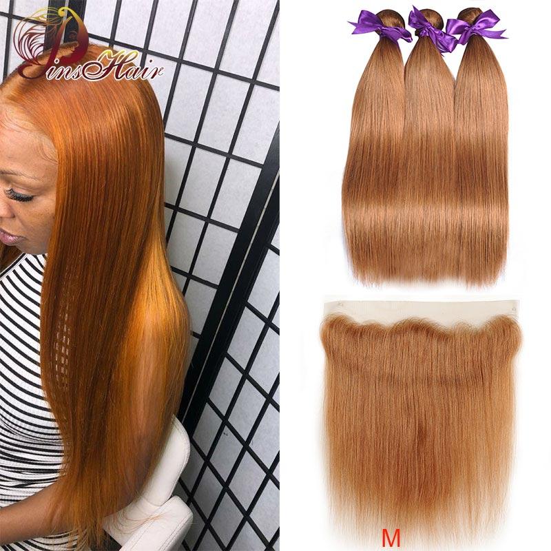 Brazilian Lace Front Bundles With Closure Pinshair #30 Blonde Human Hair Bundles With Closure Straight Hair Bundles Non-remy