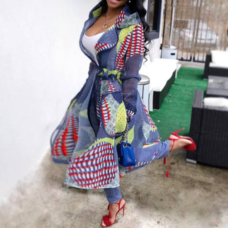 New Chic Mesh   Trench   Coat for Women Autumn Fall Vintage Printed Hooded Long Maxi Coat Female Belt Lace Up Trenchcoat Overcoat