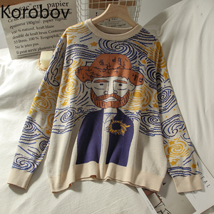 Korobov Harajuku Cartoon Women Sweaters Vintage O Neck Long Sleeve Female Pullovers 2020 Autumn New Chic Streetwear Sueter Mujer