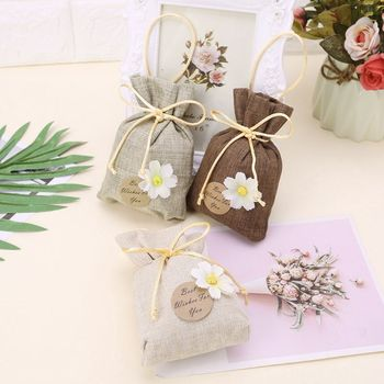 Elegant Sachet Bags Cotton Linen Reusable Muslin Bag Favor Gift For DIY Craft Herbs Tea Potpourris QX2E image