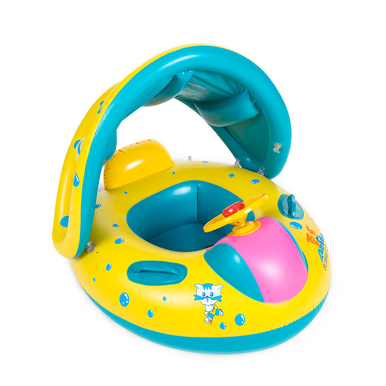 Inflatable Pvc Float Swimming Baby Seat  Ring Canopy Yacht Inflatable Pool Kids Swim Ring