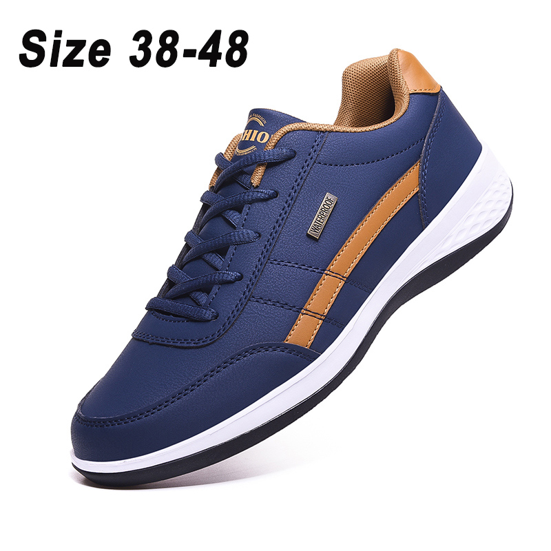 2021 Leather Men Shoes Sneakers Big Size 48 Men Casual Shoes Italian Breathable Leisure Male Non-Slip Footwear Vulcanized Shoes 1