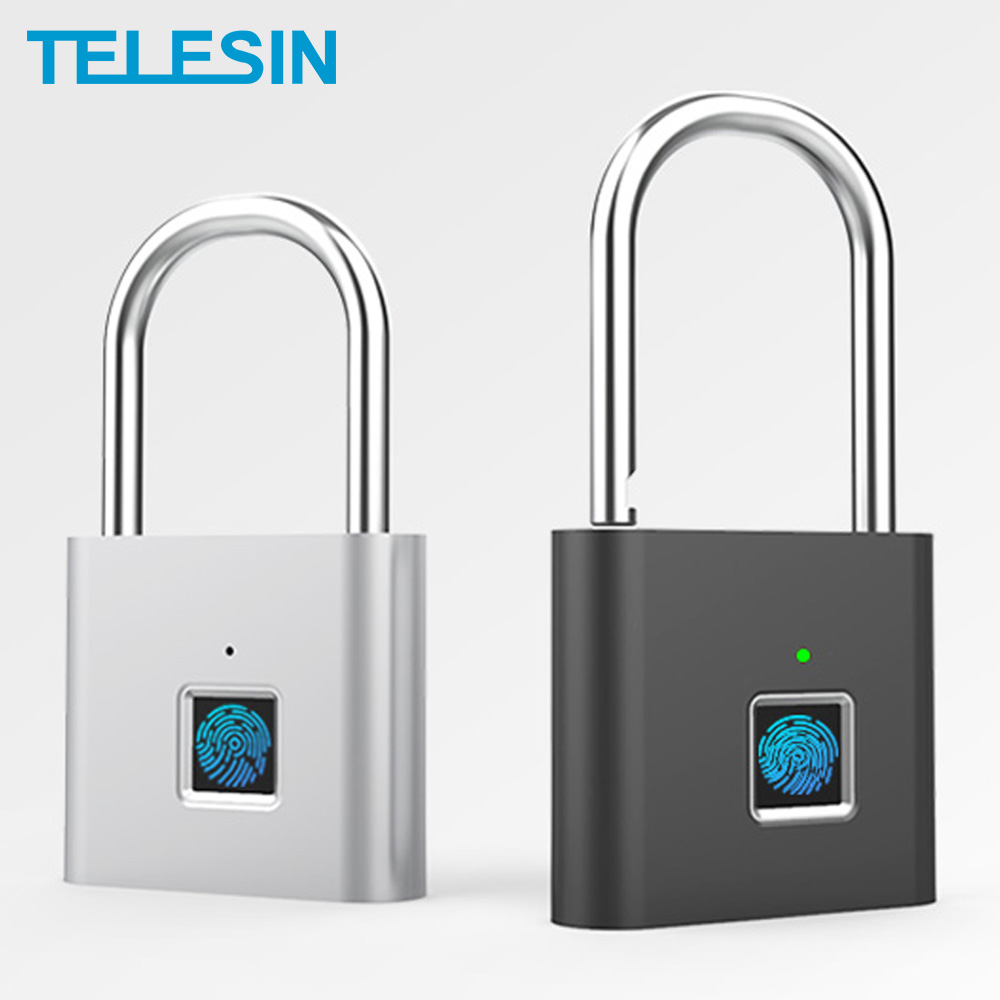 TELESIN Fingerprint Lock Keyless USB Rechargeable Smart Padlock Quick Unlock Zinc Alloy Metal Security For Door Luggage Bag