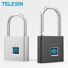 TELESIN parmak izi kilidi anahtarsız USB şarj edilebilir akıllı asma kilit hızlı kilidini çinko alaşım Metal güvenlik kapı için bagaj çantası