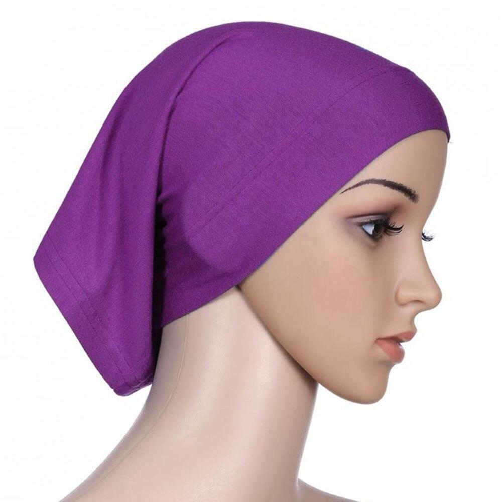 Мусульманский женский шарф Национальный Рамадан аксессуары для волос тюрбан декоративная хлопковая шапка шапочки под хиджаб Мода Защита от солнца пляж - Цвет: Purple
