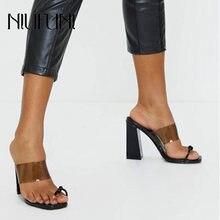 Женские тапочки размера плюс 35 41 женские сандалии с квадратным