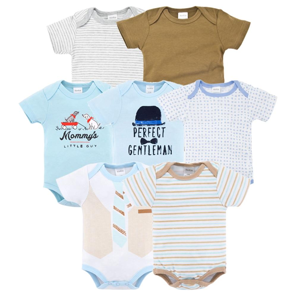 Romper Baby Clothes 7pcs/lot Newborn 100% Cotton Jumpsuit For Girls Boy Short Sleeve Clothes Set