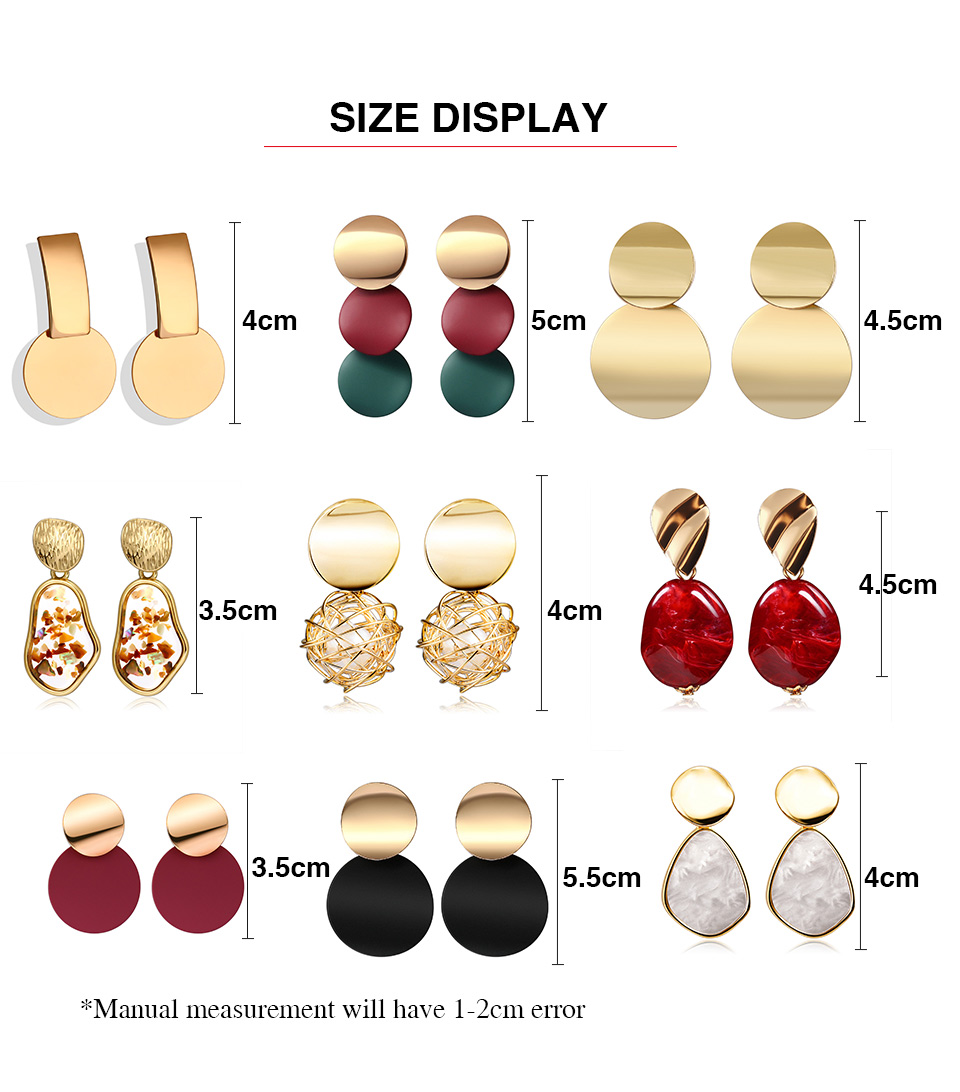 H14229caf508c428894e4236f63445fd3H - New Statement Drop Earrings For Women Fashion Gold Earrings Acrylic Geometric Red Dangle Earring Wedding Brinco Jewelry
