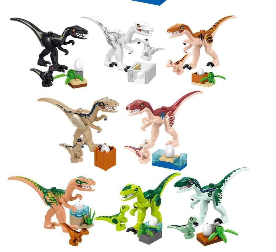 8Pcs Jurassic World Park Dinosaur Indomirus T-Rex Triceratops Baby Figures Building Blocks Bricks Kids Toys Compatible With