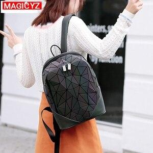 Image 5 - Women Backpack Luminous Geometric Plaid Female Backpacks For Teenage Girls Bagpack Bag Holographic Backpack School Mochila