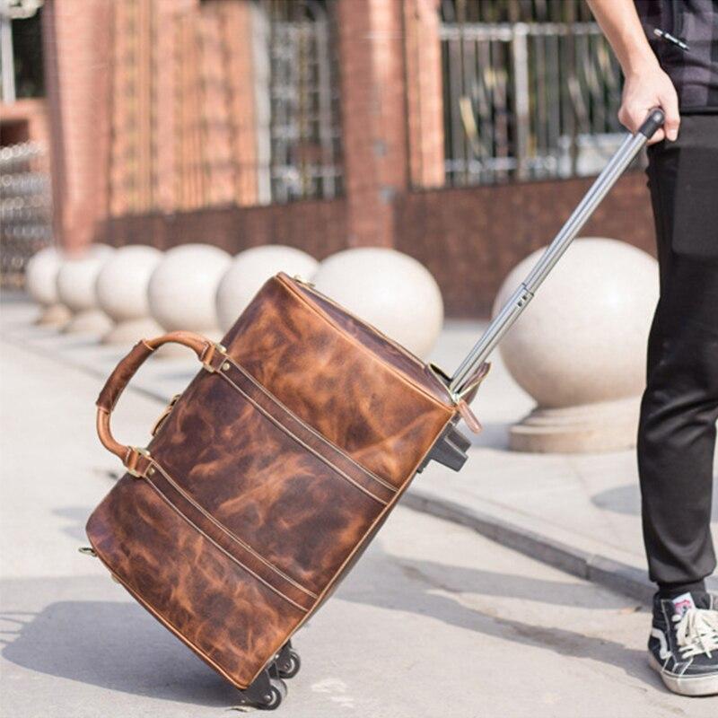 MAHEU hommes de haute qualité en cuir véritable valise chariot de voyage grand mode bagages sacs en cuir véritable week-end sacs avec rouleau