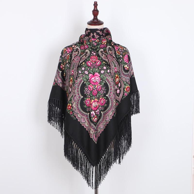 Scarf Russian Shawl Women's Head Wrap Hijab Babushka Ukrainian Scarves Square Blankets Tassel Retro Handkerchief Foulard Femme
