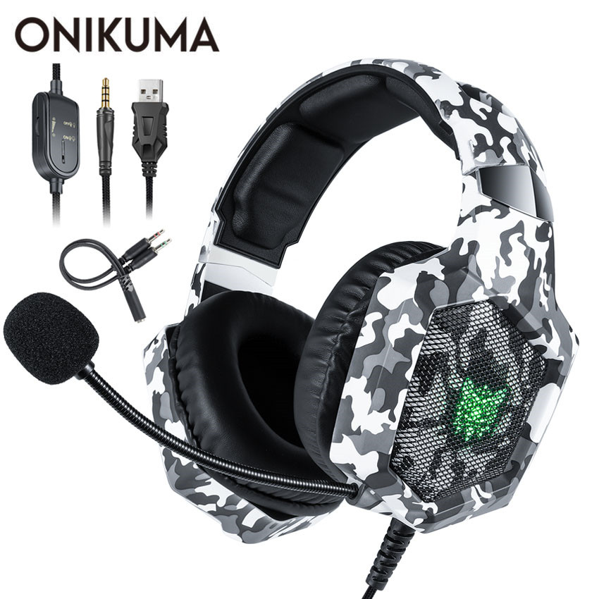 ONIKUMA K8 PS4 Headset casque <font><b>Wired</b></font> PC Gamer Stereo <font><b>Gaming</b></font> Kopfhörer mit Mikrofon Led-leuchten für XBox One/Laptop tablet image