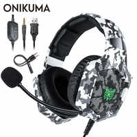 ONIKUMA K8 PS4 Headset casque Wired PC Gamer Stereo Gaming Headphones with Microphone LED Lights for XBox One/Laptop Tablet