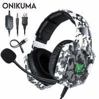 ONIKUMA K8 PS4 casque casque filaire PC Gamer stéréo casque de jeu avec Microphone LED lumières pour XBox One/ordinateur portable tablette