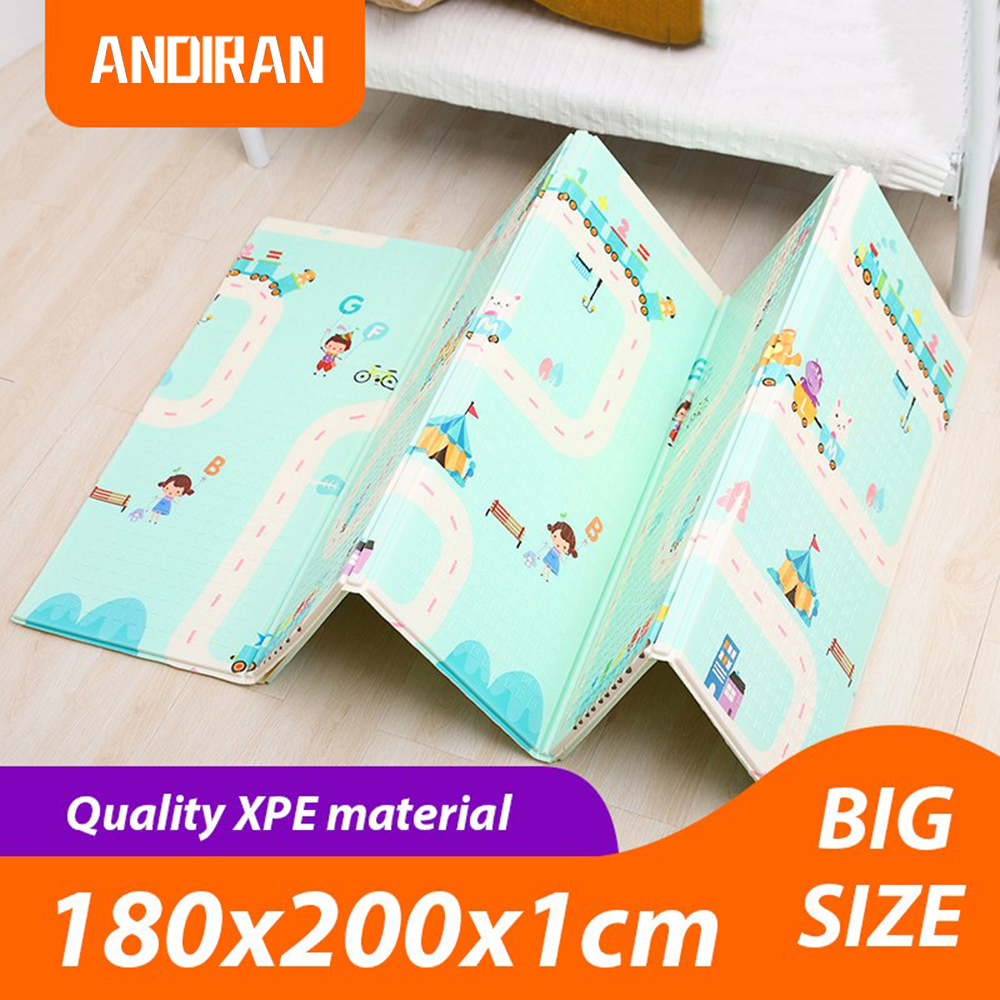 Baby Play Mat Folding XPE Crawling Pad 180*200cm Home Portable Outdoor Folding Waterproof Puzzle Carpet Game Mat