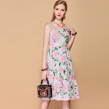 Baogarret 2019 Fashion Runway Casual Summer Dress Womens Floral Appliques Embroidery Print Elegant Cotton