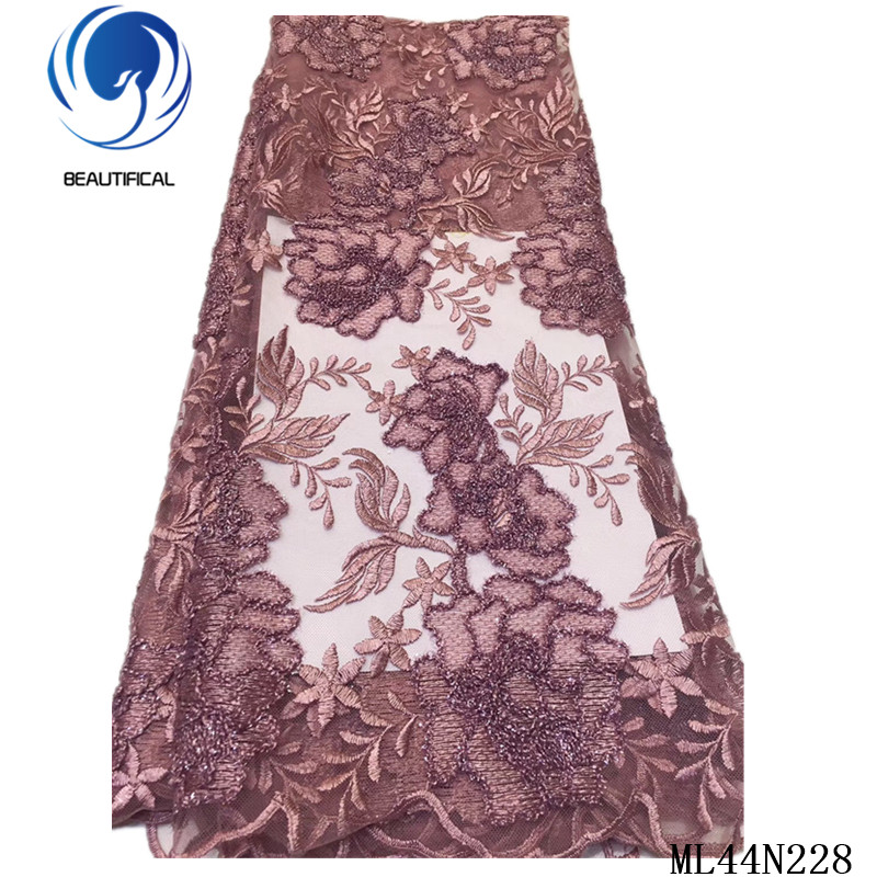 BEAUTIFICAL High Quality Embroidery French Lace Tissu Fabrics African 5 yards Net Lace Tulle Mesh Dress Lace ML44N228