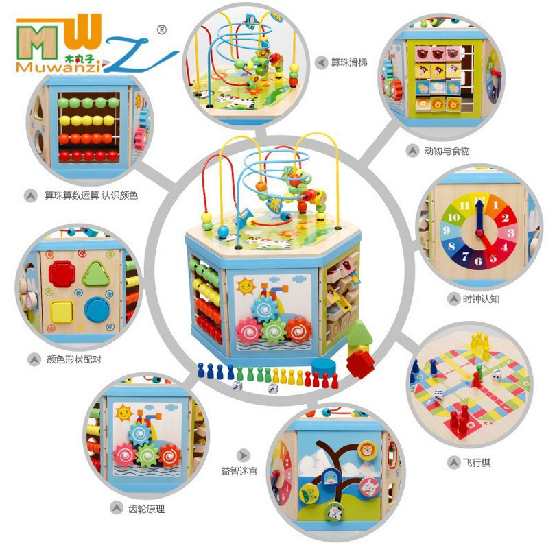 MWZ Hexagonal Multi-functional Educational Toy Wooden Toy 7038