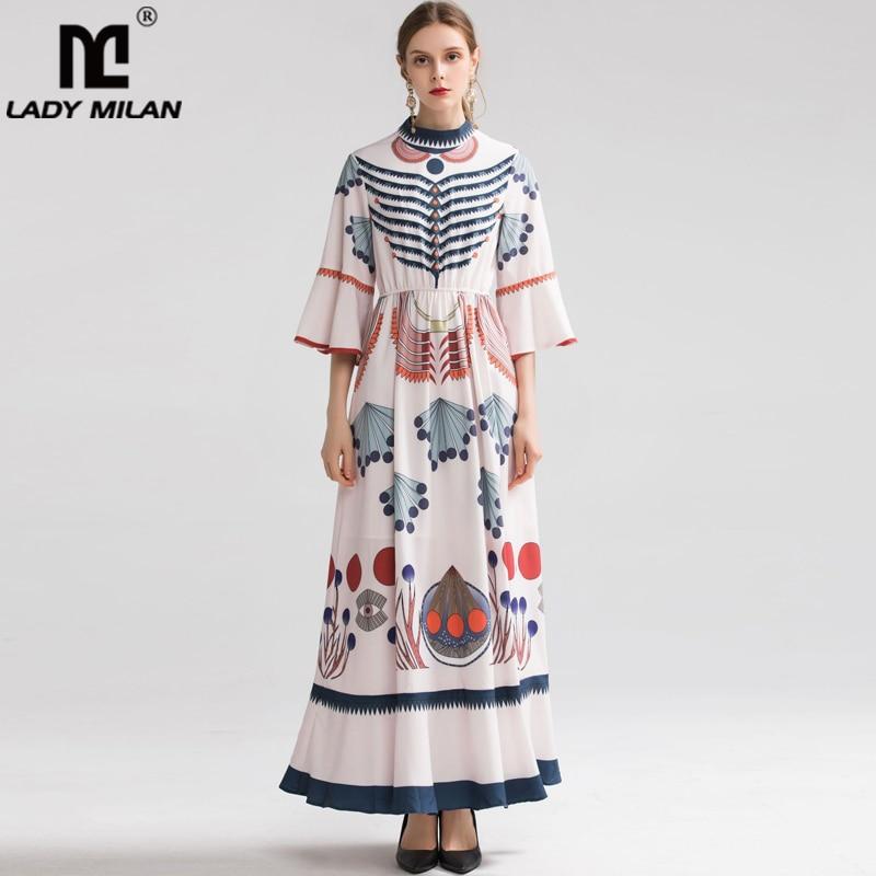 레이디 밀라노 2019 여성용 o 넥 3/4 플레어 슬리브 프린트 프릴 우아한 롱 플러스 사이즈 패션 런웨이 드레스-에서드레스부터 여성 의류 의  그룹 1