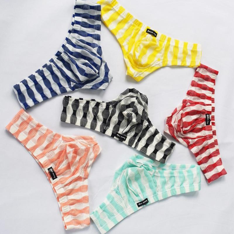 6PCS/Lots Men's Mini Boxers Shorts Striped Translucent Bugle Pouch Panties Sissy Slip Gay Underwear Boxershorts Sexy Trunks 2XL