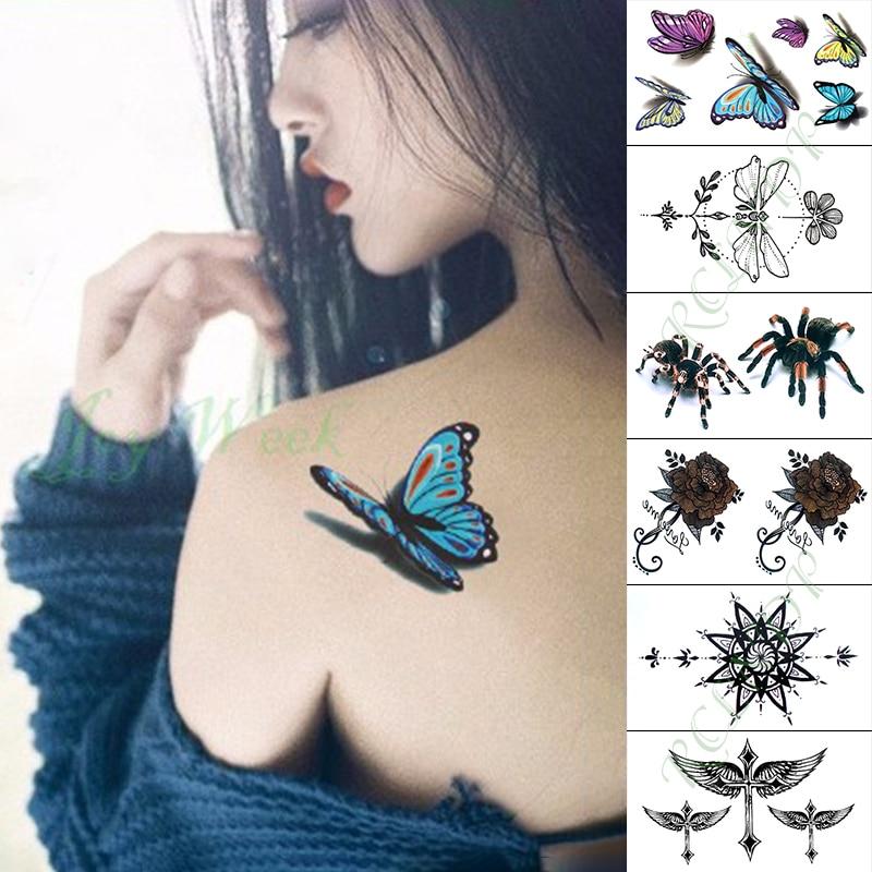 Waterproof Temporary Tattoo Sticker Blue Butterfly Spider Fake Tatto Hand Arm Foot Flash Tatoo For Kid Girl Men Women