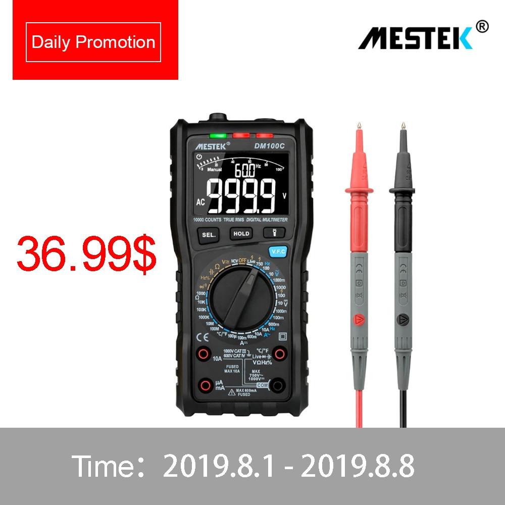 MESTEK DM100C True RMS Digital Multimeter Button 10000 Count With Analog Bar Graph AC DC Voltage