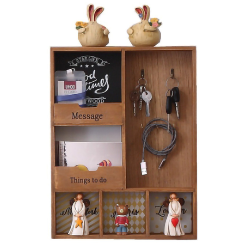 Wood Storage Rack Three Layer Hook Hanging Wall Decoration Sundries Holder Living Room Keys Holder Kitchen Vestibule Porch Box