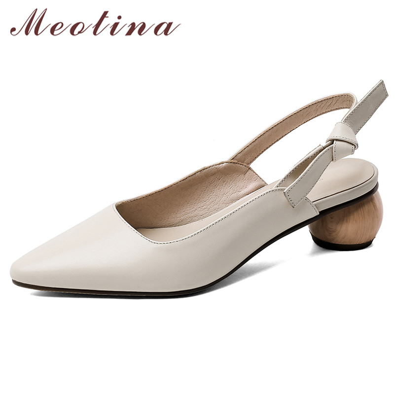 Meotina High Heels Women Slingbacks Shoes Natural Genuine Leather Strange Style Heels Shoes Cow Leather Pointed Toe Pumps Ladies